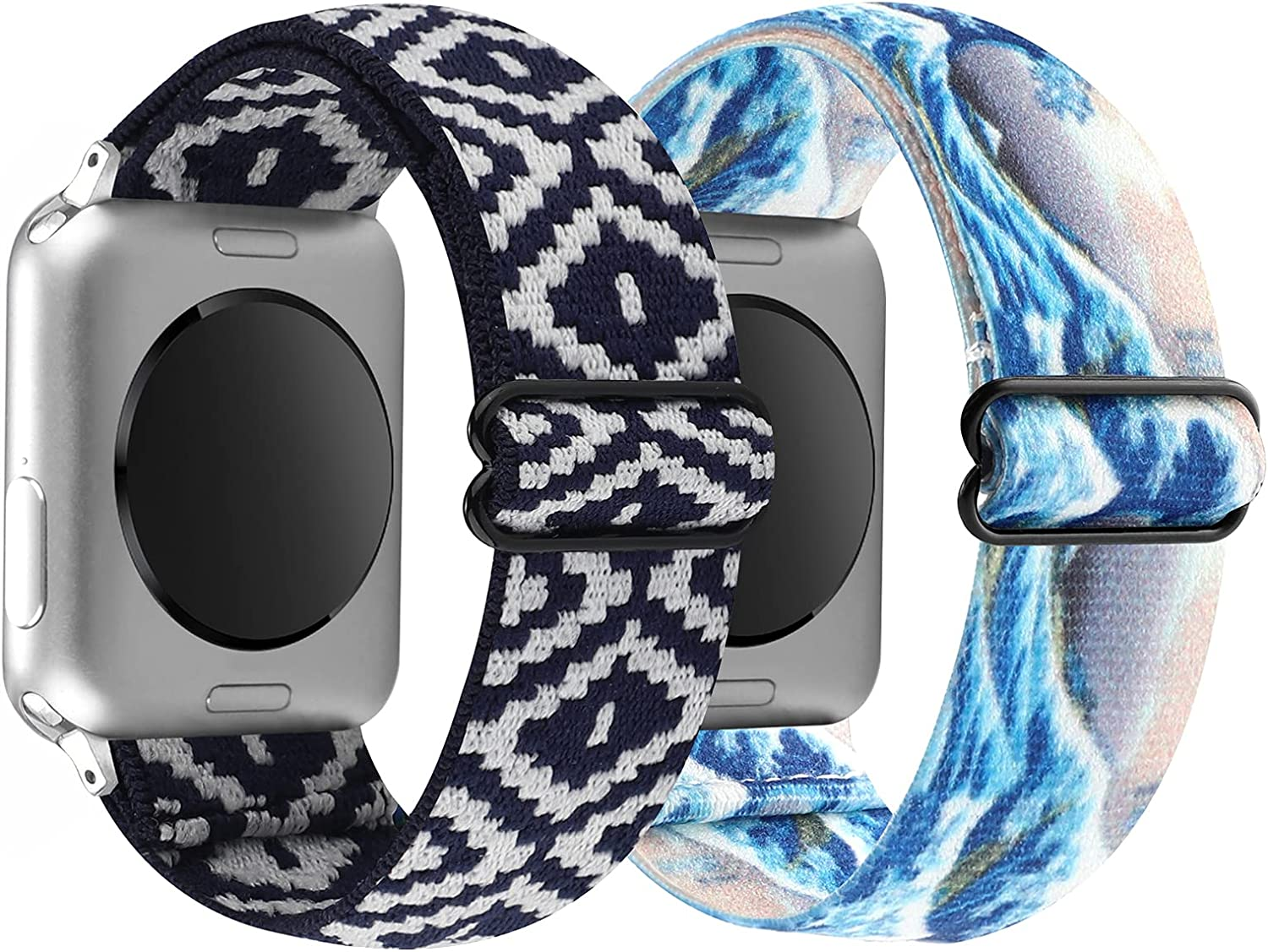 YOSWAN 2 Pack Stretchy Nylon Solo Loop Bands Compatible with Apple Watch 38mm 40mm, Adjustable Stretch Braided Sport Elastics Women Wristband for iWatch Series 6/5/4/3/2/1 SE