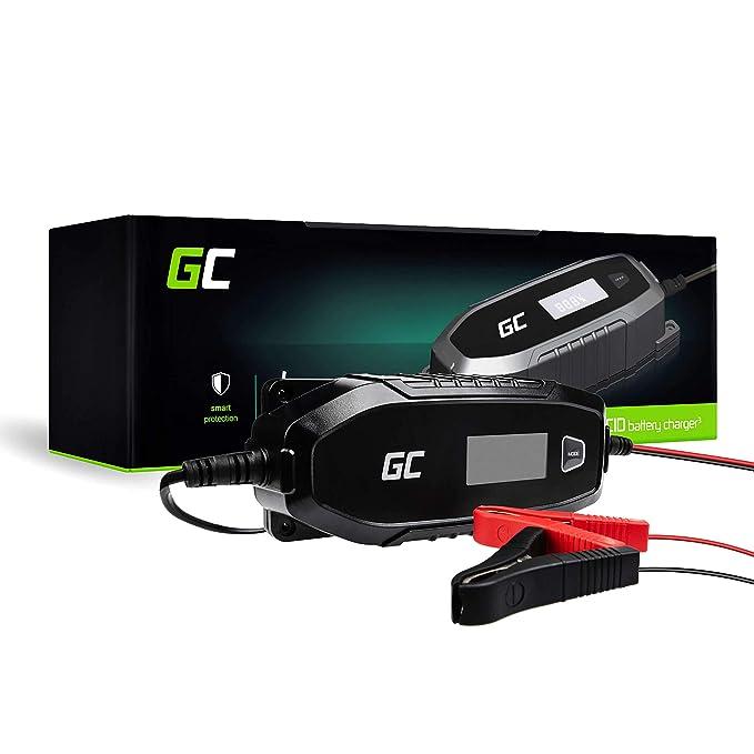 Green Cell® Cargador de batería (AGM, Gel, MF, SLA, VRLA) automático (Voltaje de Carga 6V / 12V 48W 4A) Cargador con probador de batería para Coche ...