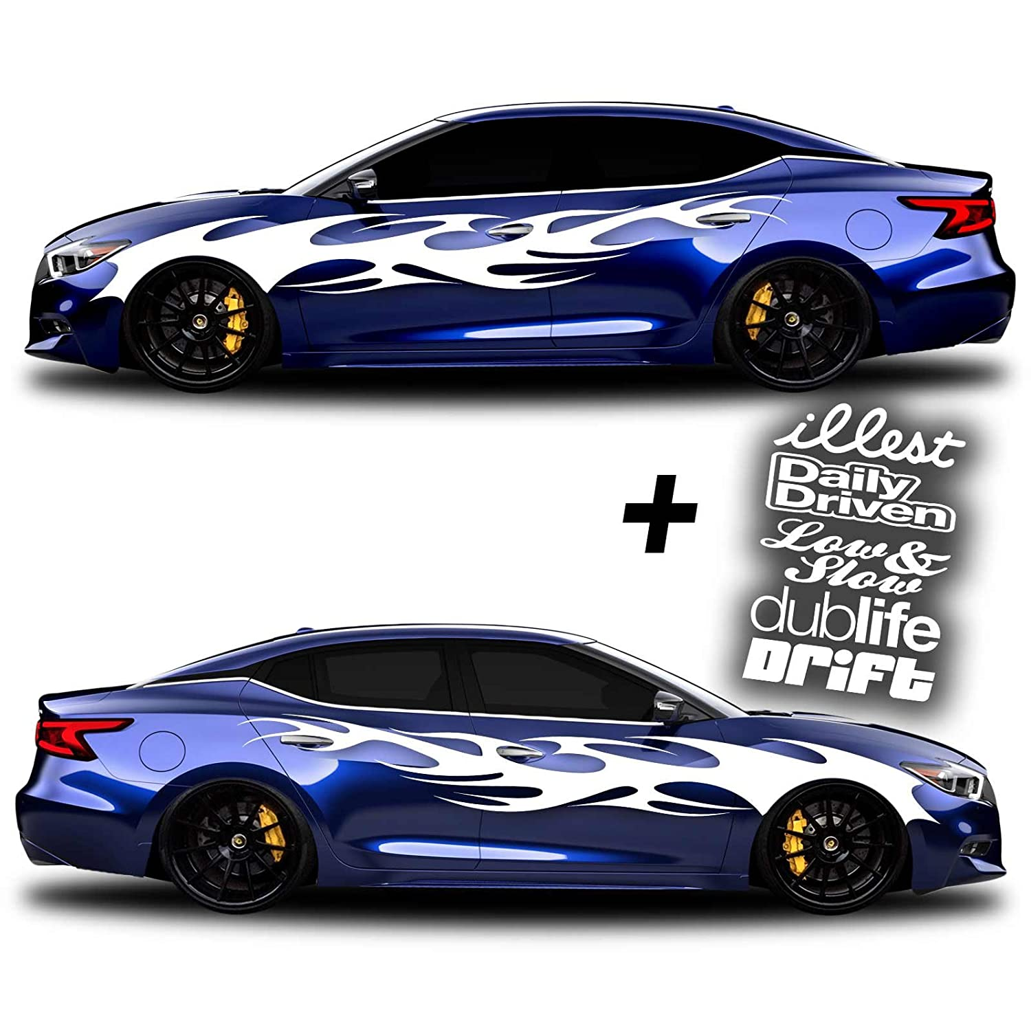 Sg motiv vinyl body side graphics racing stripes car truck sticker decal universal 002 decals illest daily driven low slow dub life drift white