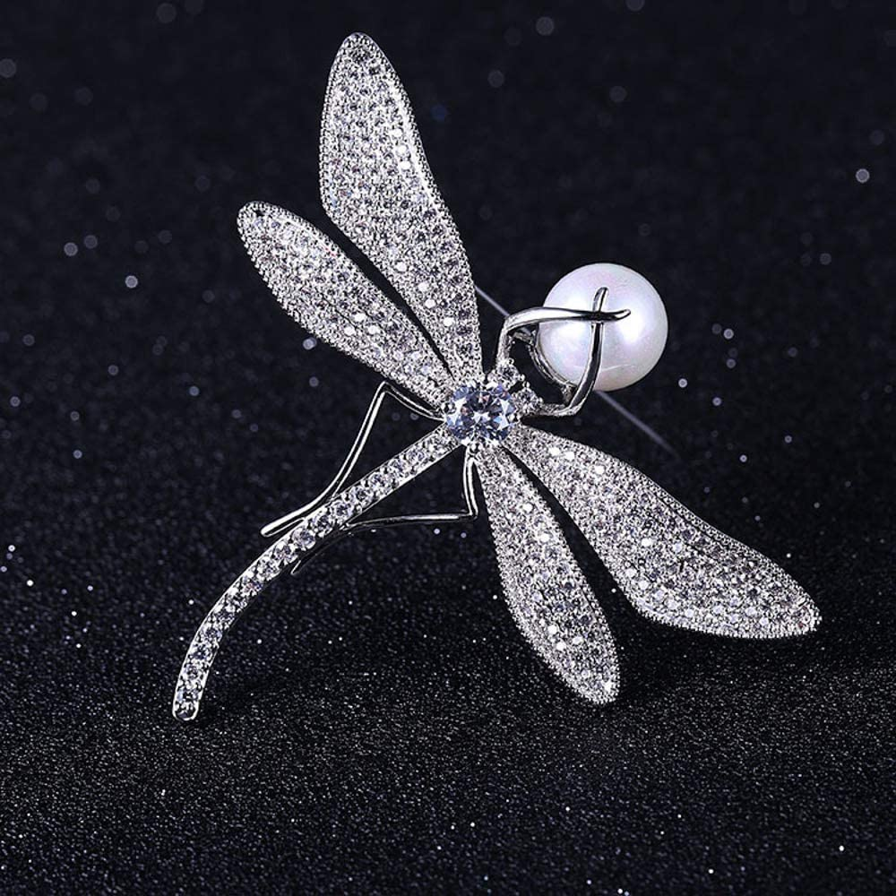Copper AAA Zircon Buckle for Sweater Scarf Coat Reiko Siliver Color Dragonfly Brooch Pin for Women
