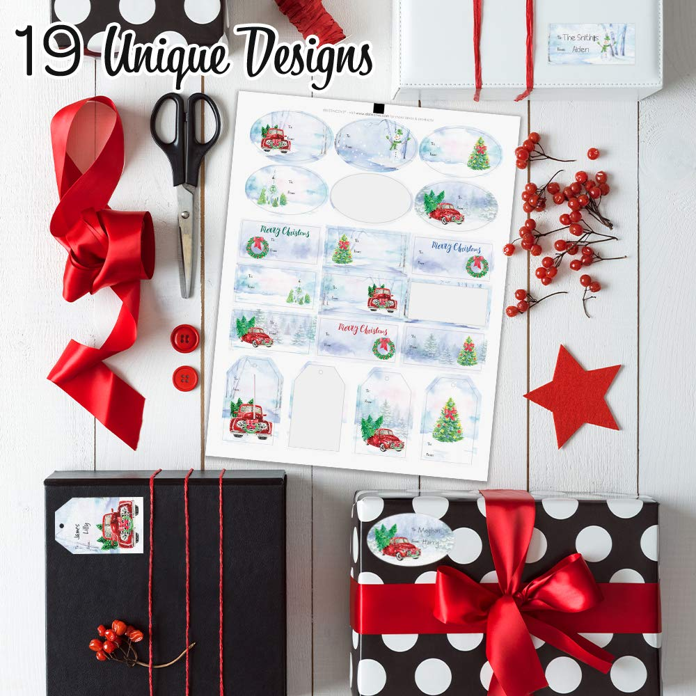 Amazon.com: Christmas Gift Tags Assortment, 76 Stickers (Vintage ...