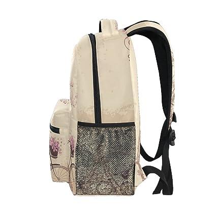 Amazon.com : GIOVANIOR Bonjour Paris Tower Eiffel And Bicycle Romantic Backpack School Bag Bookbag Hiking Travel Rucksack : Sports & Outdoors