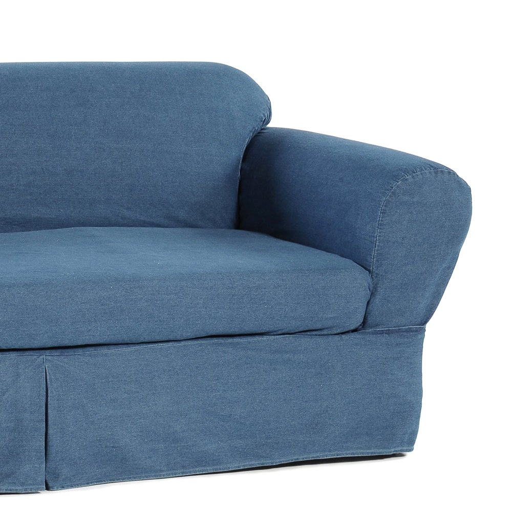 2 Piece Cotton Washed Heavy Denim Sofa Slipcover, Blue by Classic Slipcovers