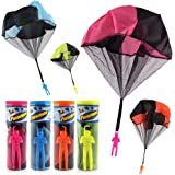 Finebaby 4PCS Set Tangle Free Throwing Parachute Figures Hand Throw Soliders Parachute Square Outdoor Children's Flying Toys | No Strings No Batteries Toss It Up