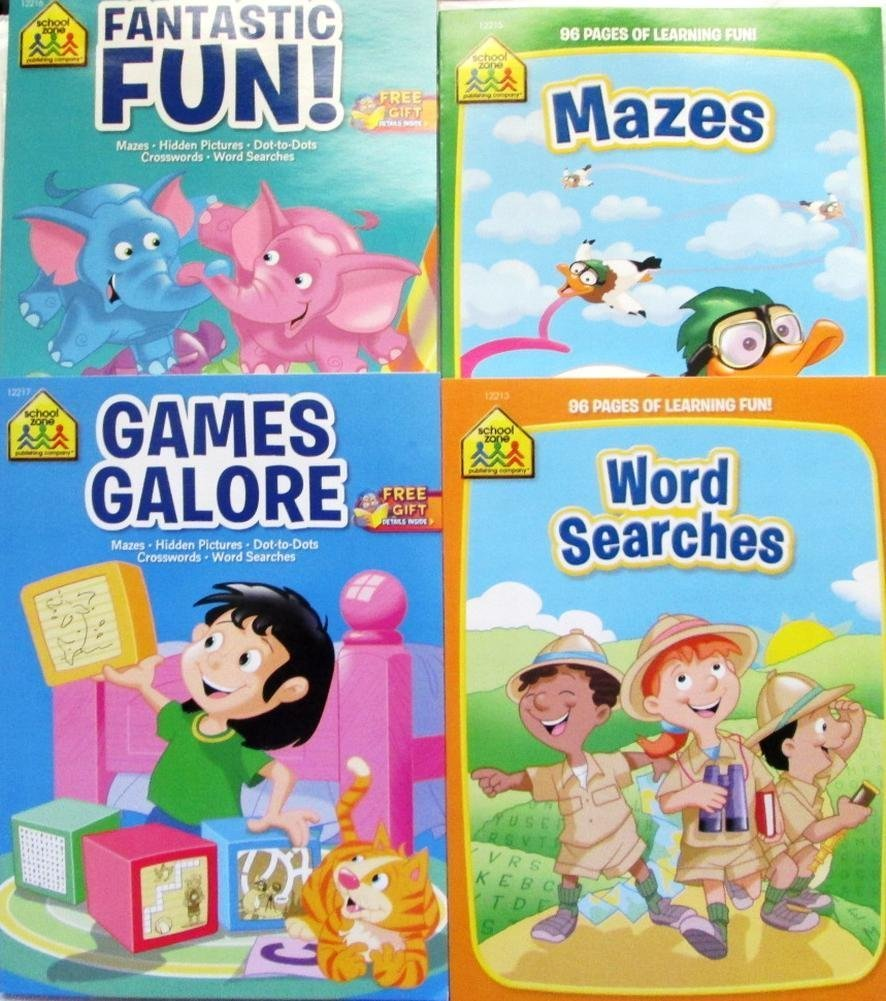 School Zone Workbooks Set of 4 books Games Galore and Fantastic Fun Coloring And Activity Books - Mazes Word Search