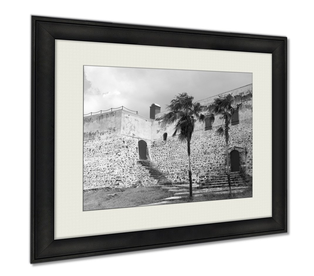 Ashley Framed Prints The Backside Of Historic Fort Christian Built By Denmark And Norway In 1680 In, Wall Art Home Decoration, Black/White, 26x30 (frame size), AG6348160 by Ashley Framed Prints