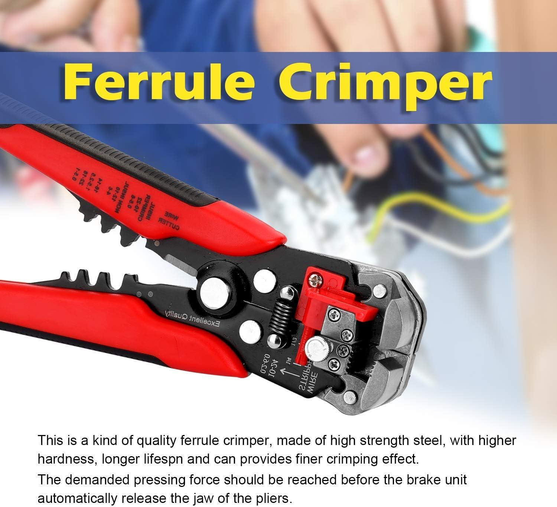WYZXR Wire Stripper Ferrule Crimping Stripper Cutter with Insulation Terminals Crimper Plier (Orange) Orange