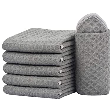 SINLAND Thick Microfiber Dish Cloths Waffle Weave Kitchen Cleaning Cloth Dish Rags 13inch X 13inch 6 Pack Grey