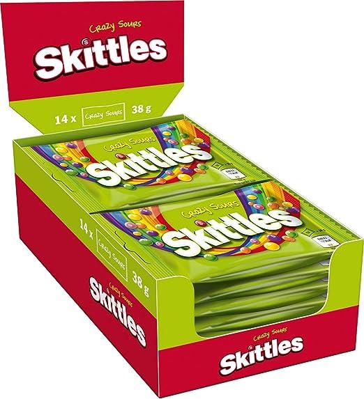 Skittles Crazy Sours Aspro-Afrutado dulces Pack de 14 x38g Bags ...