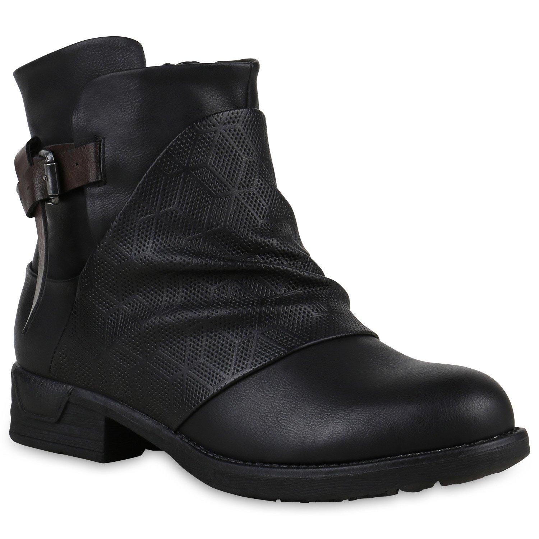 Stiefelparadies Donna Stivaletti Bassi Biker Boots Foderata Stampe Fibbie