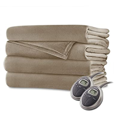 Sunbeam Luxurious Velvet Plush King Heated Blanket with 20 Heat Settings, Auto-off, 2-Digital Controllers, 5 Yr Warranty - Beige
