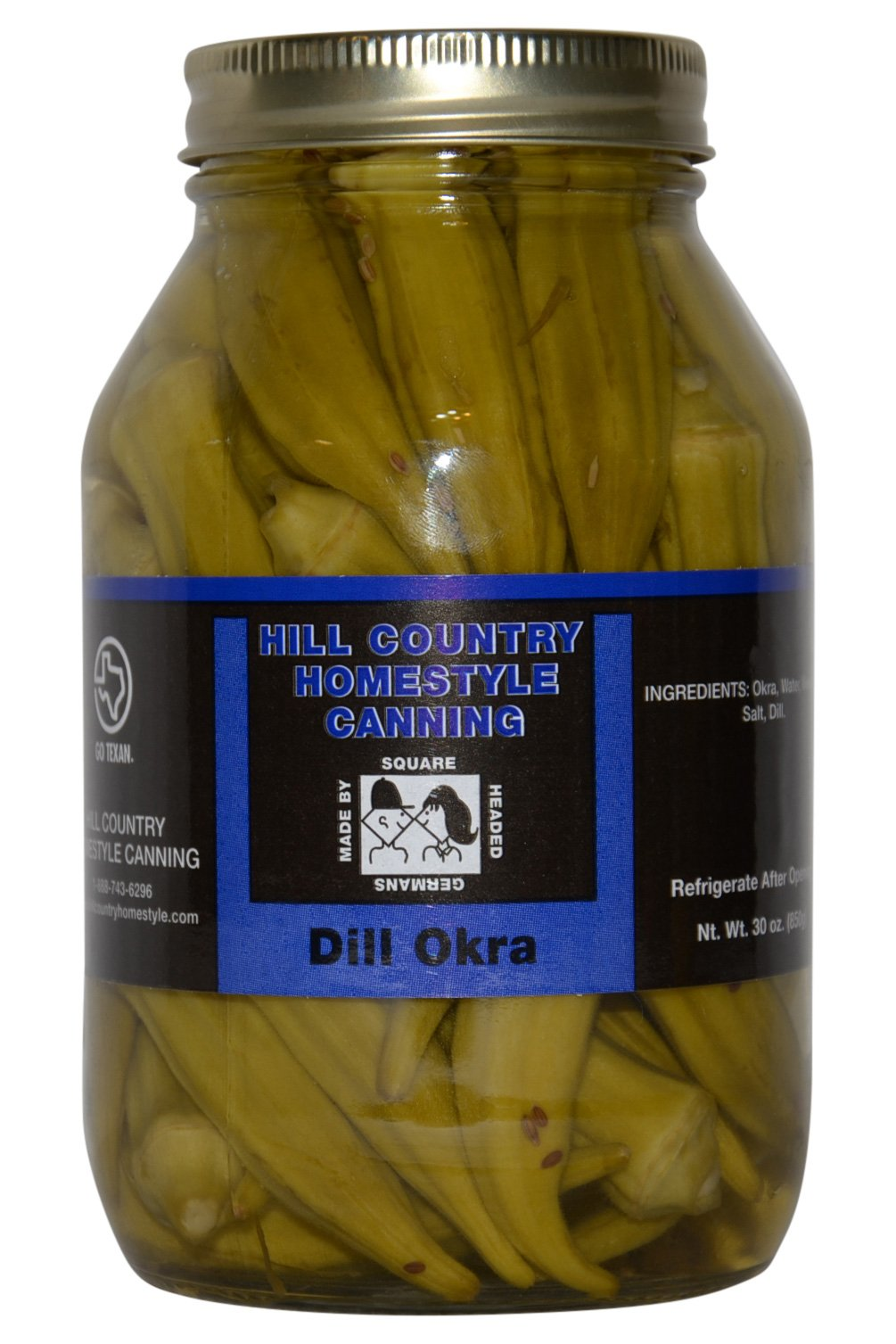 Texas Hill Country Pickled Dill Okra 32 oz by Bluebonnet Creek Farms