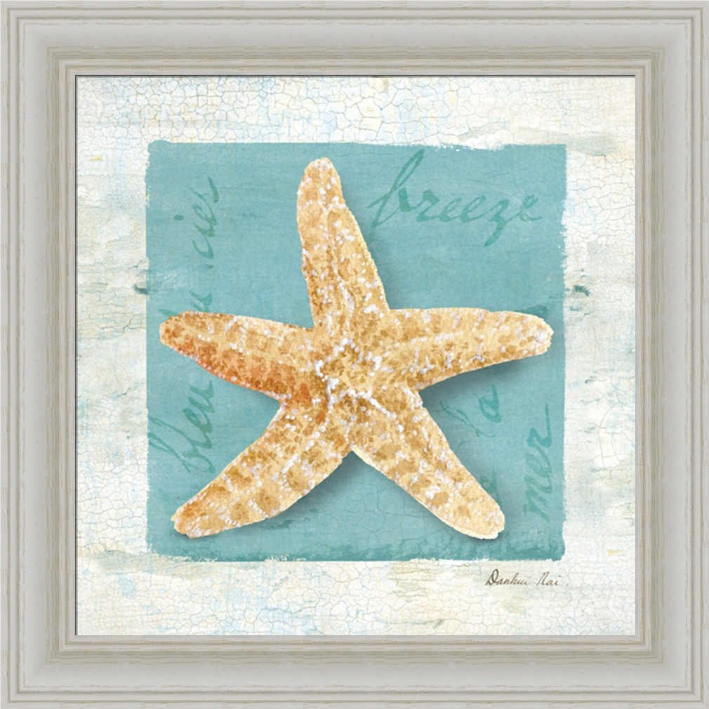 amazoncom blue seashell ii by danhui nai bathroom spa bath room wall art print framed dcor seashell decor posters u0026 prints