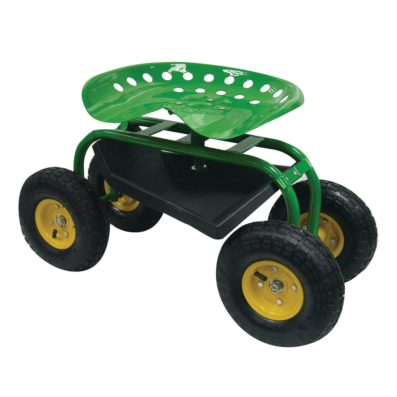 Amazon.com : Rolling Garden Scoot Swivel Work Seat With Tool Tray Tractor  Cart : Patio, Lawn U0026 Garden