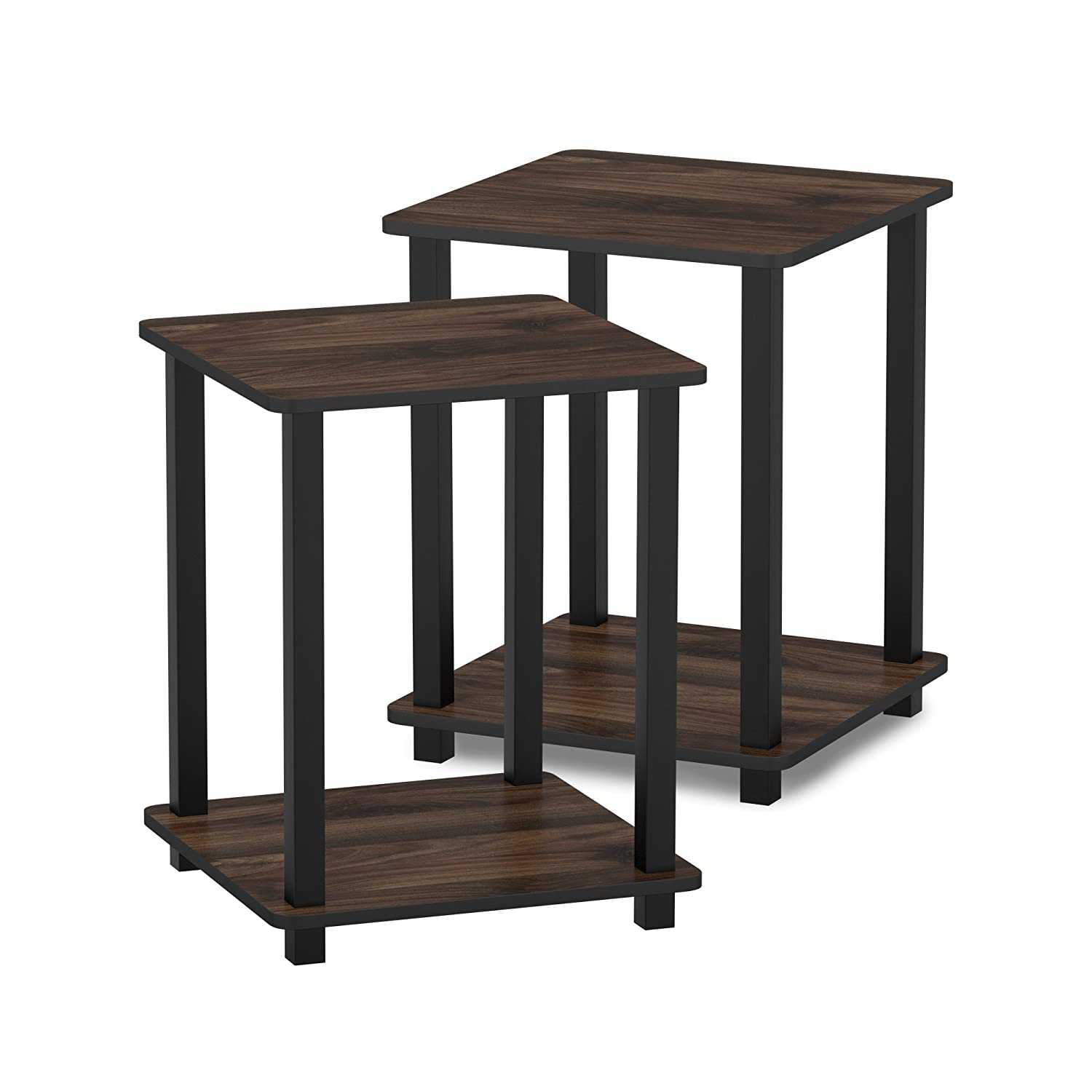 Furinno 12127CWN/BK Turn-S-Tube End Table 2-Pack Columbia Walnut/Black