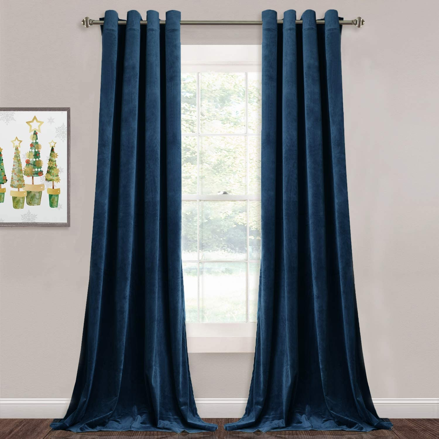 StangH Velvet Blackout Curtains Navy - Luxury Blue Curtains Velvet Textured Panel Drapes for Hotel Hall/Farmhouse Decor, Heavy Duty Summer Heat Block Out, Navy Blue, Wide 52 x Long 96 inches, 2 Pcs