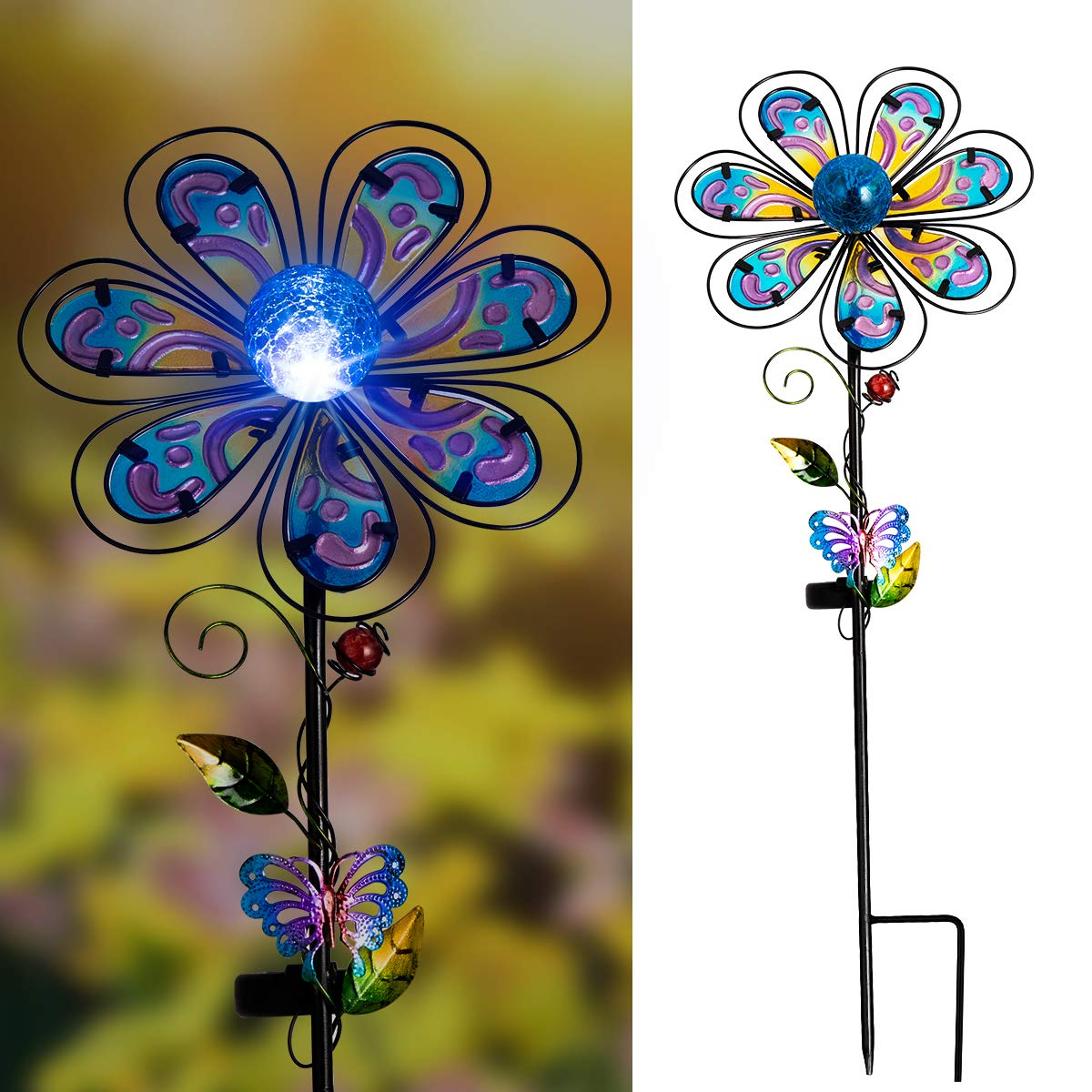 Solpex Solar Garden Stake Outdoor with Cracked Glass LED Light Colorful Mental Coat Flower for Patio, Lawn and Yard Art Décor