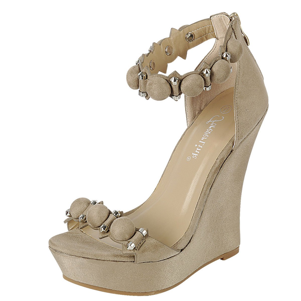 5788aa5369 Amazon.com | Forever Link Womens Open Toe Stud Bead Button Ankle Strap High Heel  Platform Wedge Pump Sandals | Platforms & Wedges