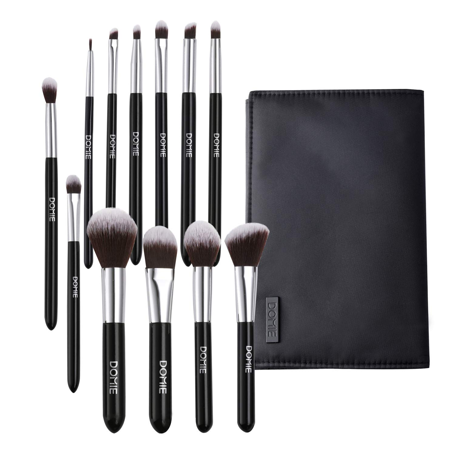 Makeup Brush Set with Travel Bag, Domie 12 Premium Synthetic Brushes for Foundation, Concealer, Eye Shadow, Blusher, Powder, and More