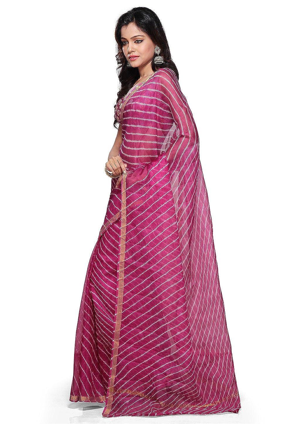 7b693257cd17e Utsav Fashion Pure Kota Silk Saree in Fuchsia Colour  Amazon.in  Clothing    Accessories