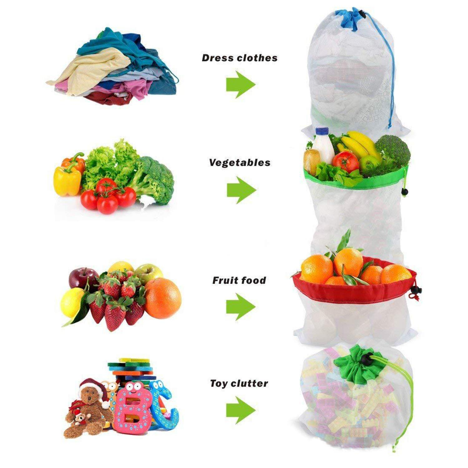 Reusable Mesh Produce Bags Transporting and Storing Fruits 12pcs Washable Dacron Fruit Vegetable Produce Mesh Bags with Drawstrings Veggies and Toy Large Medium Small Natural Lightweight See Through Transparent for Shopping