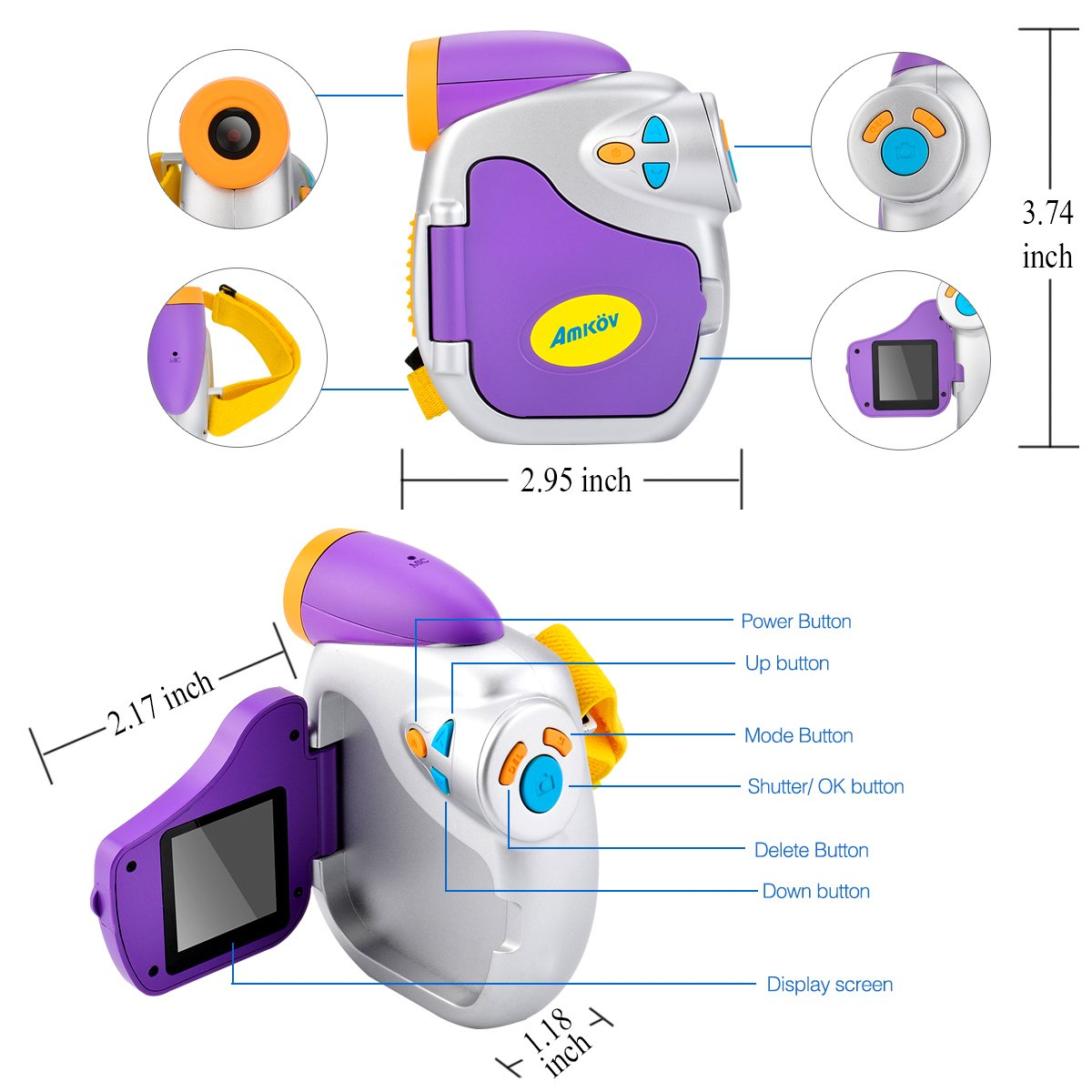 Digital Video Camera for Kids, AMKOV Kids Camcorder, 1.44 Inch Full-Color TFT Display Kids Camera by AMKOV (Image #8)