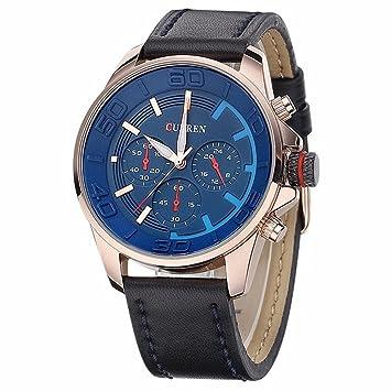 XKC-watches Relojes para Hombres, auténtica Correa de los Hombres Falsos Tres Relojes Casuales de Moda Coreana (Color : 2): Amazon.es: Deportes y aire libre