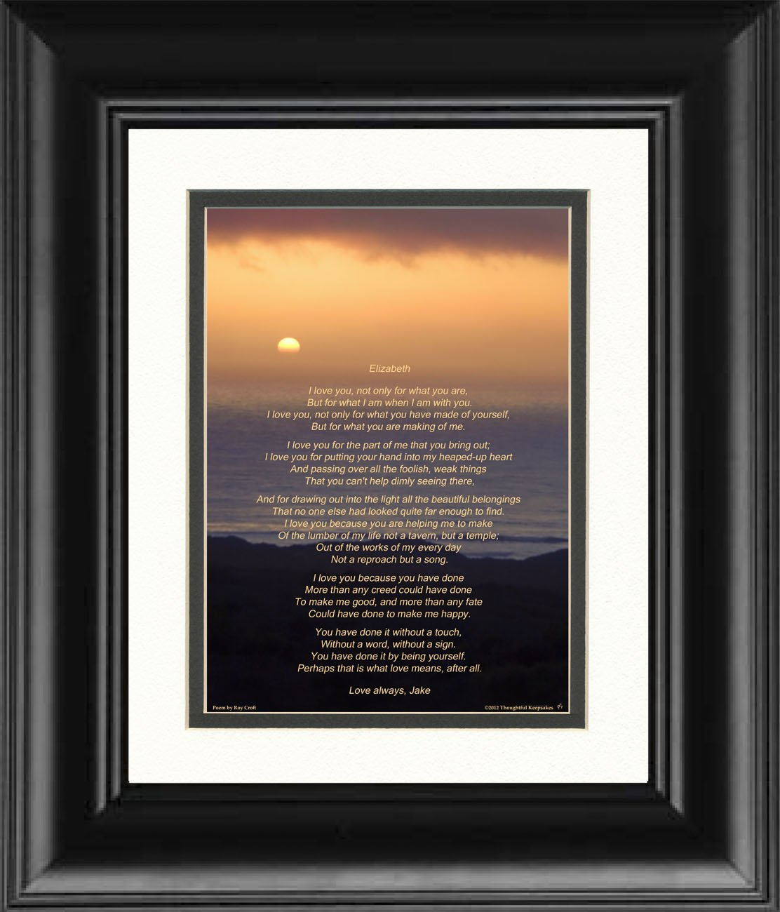Amazon framed personalized gift for husband wife boyfriend or amazon framed personalized gift for husband wife boyfriend or girlfriend ocean sunset photo with i love you poem by roy croft 8x10 double matted solutioingenieria Gallery