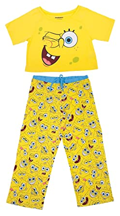 7cf8beb63fefc Spongebob Squarepants Faces Crop Top PJ Set - Ladies (Medium) at ...