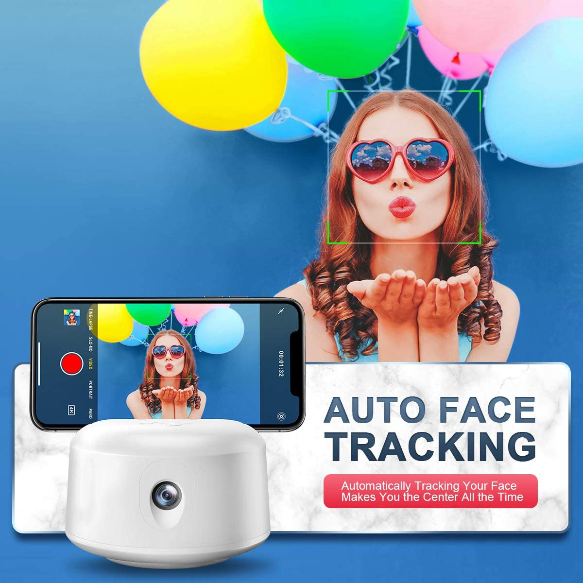 Smart Tracking Holder, Auto-Face Tracking Selfie Stick for Tripod Stand for Live Streaming Live Video