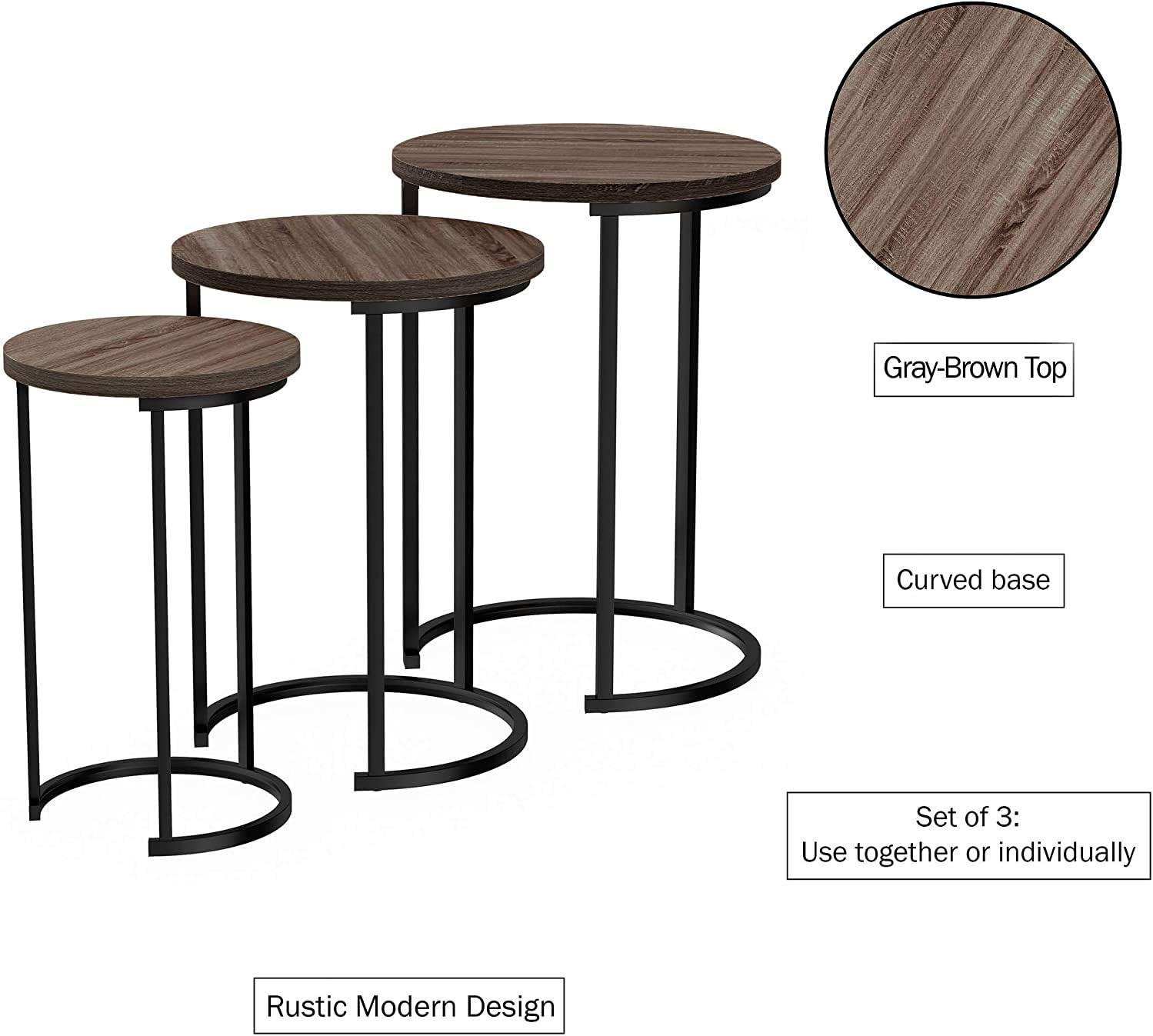 HYGRAD BUILT TO SURVIVE Set of 3 Round Vintage Wooden//Steel Nesting Side Coffee Tables Hallway Bedroom Living Furniture