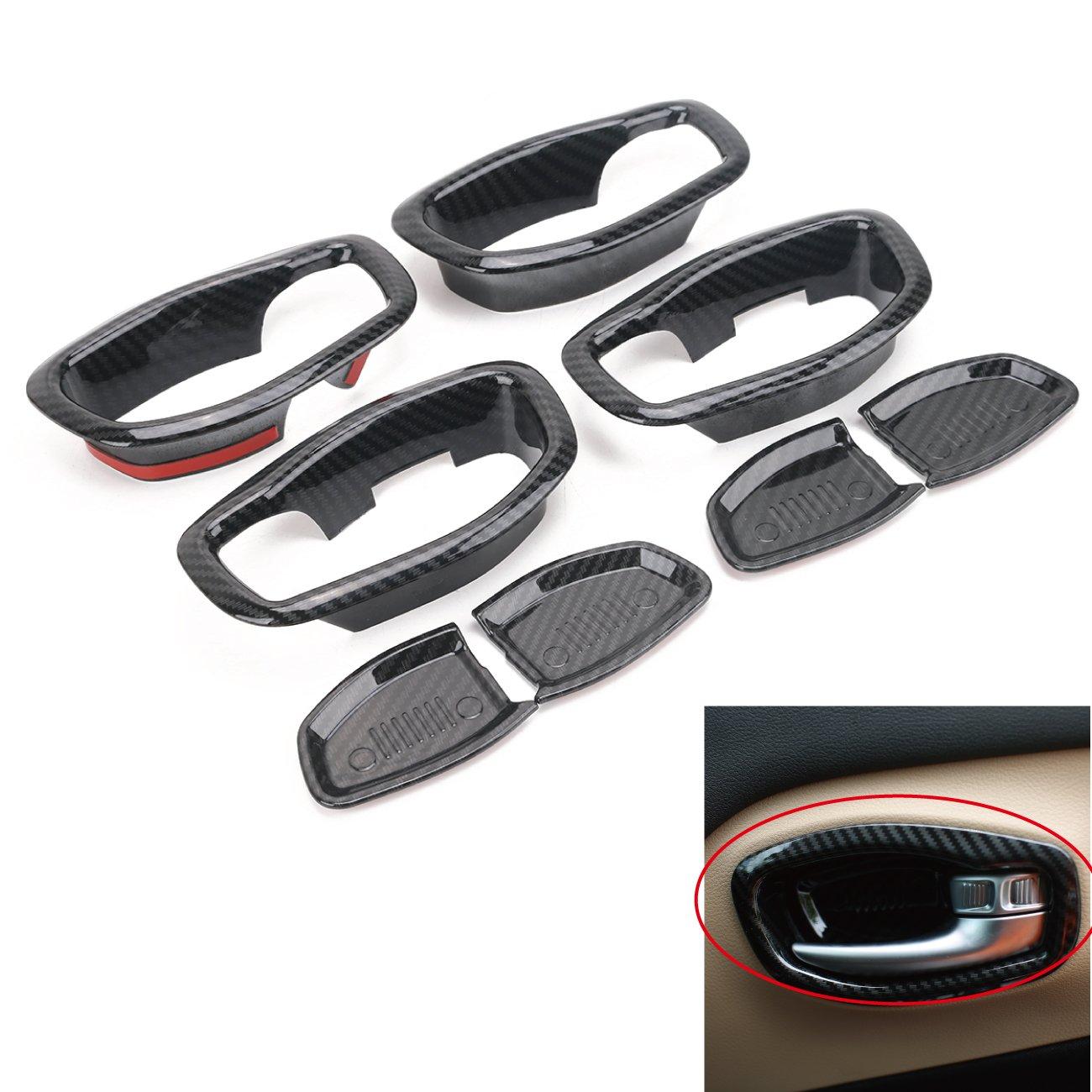 For RENEGADE 2015 - 2017, Boxatdoor interno auto telaio interno decorativo Trim Carbon nero