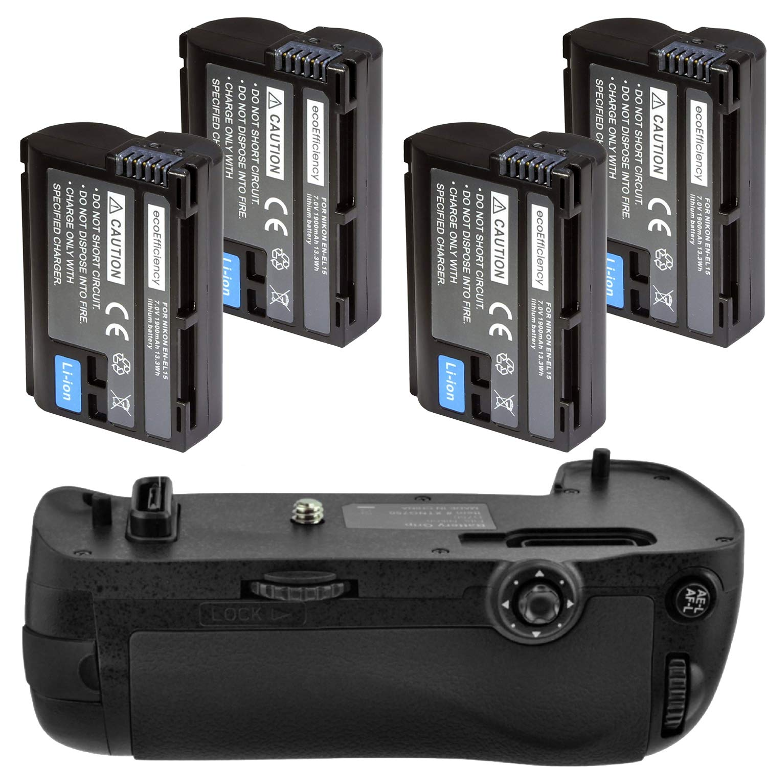 Battery Grip Kit for Nikon D750 DSLR Camera (MB-D16 Replacement)-Includes Qty 4 ENEL15 Batteries + Vertical Battery Grip by Big Mike's