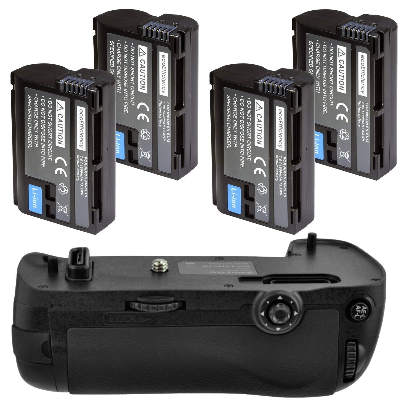 Battery Grip Kit for Nikon D750 DSLR Camera (MB-D16 Replacement)-Includes Qty 4 ENEL15 Batteries + Vertical Battery Grip