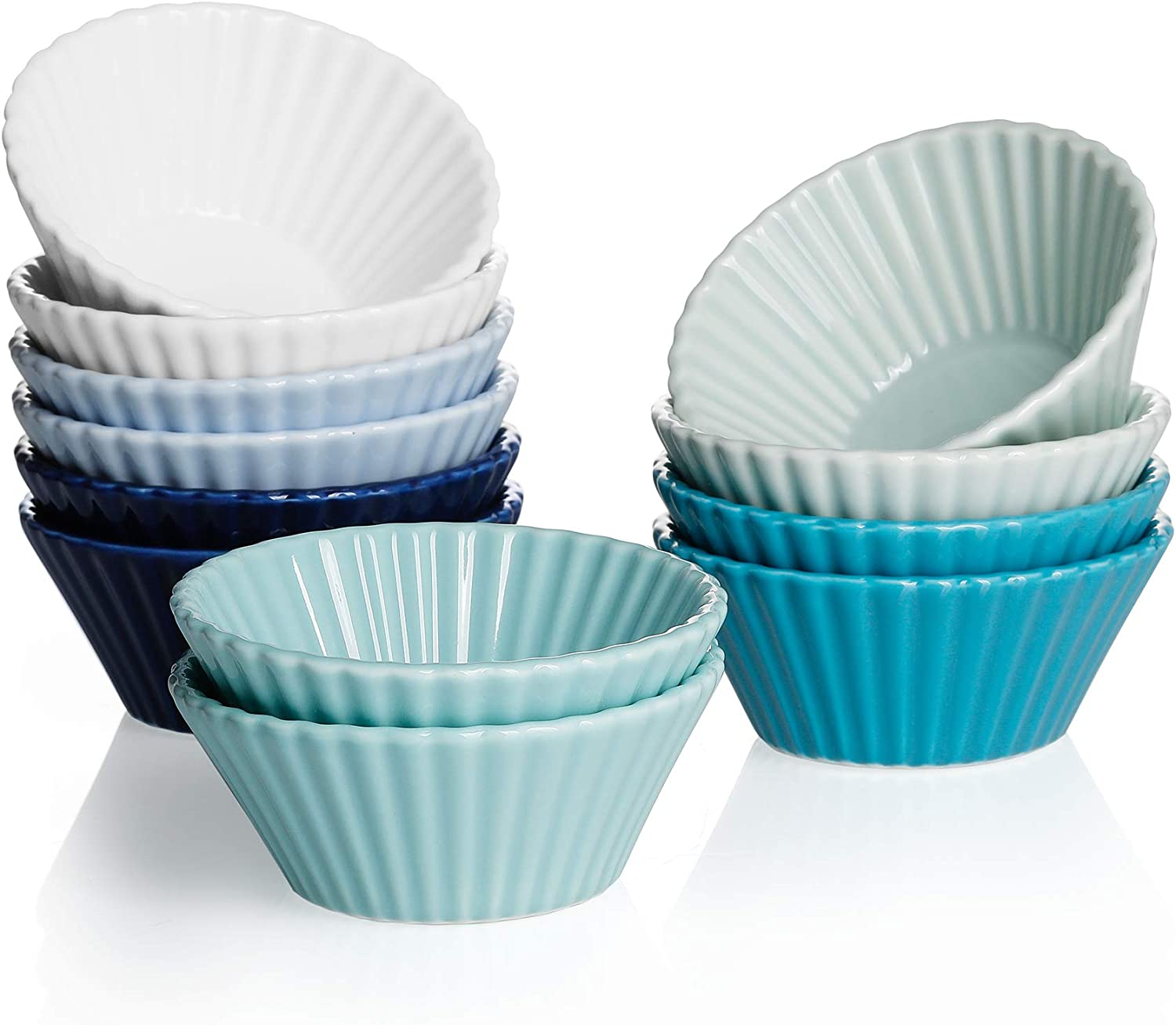 Sweese 528.003 Porcelain Baking Cups, Mini Muffin Pan, Non-Stick Cupcake Set, Alone Cupcake Holder, Sauce Dishes, Set of 12, Cool Assorted Color