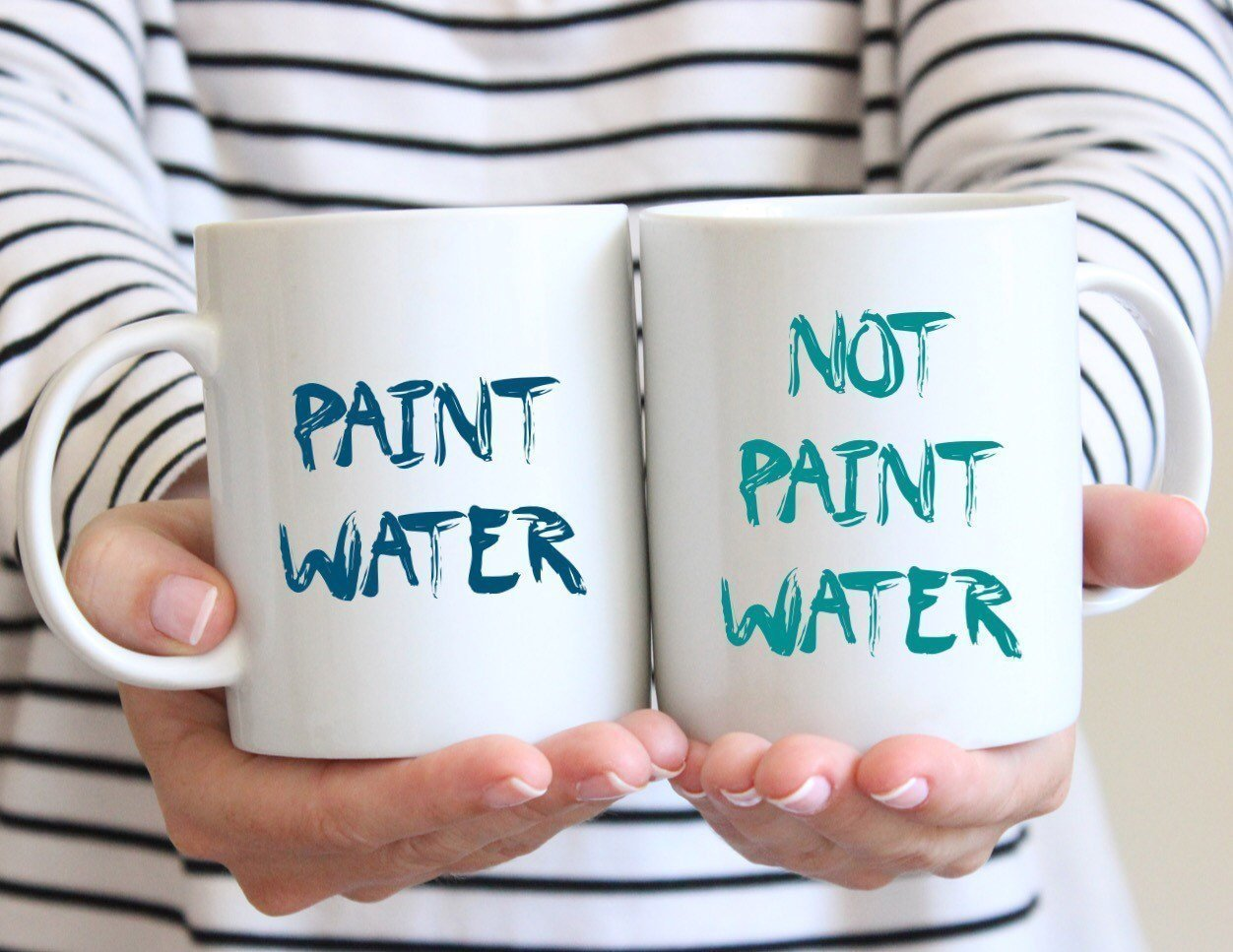 Unique Creative Gift Idea, Funny Coffee Mug Set, Funny Artist Mugs, Gift for Artist, Mug for Painter, Tea Cups, Funny Paint Water Mugs, Couple Mugs, Christmas Gift