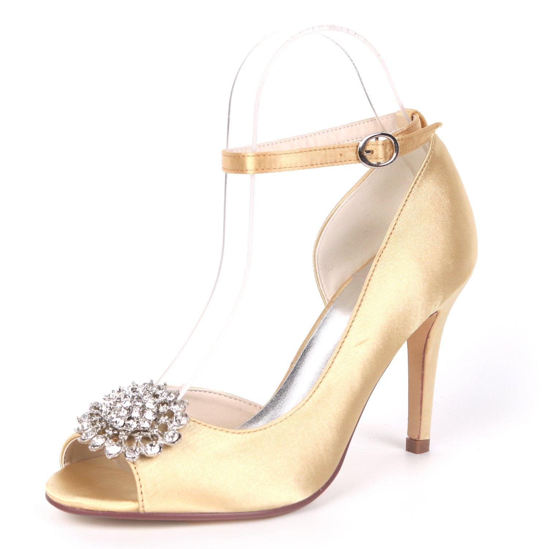 Flower-Ager Y5623-16BC Mujeres Satin D'orsay Peep Toe Rhinestone Boda Zapatos Nupciales De La Corte UK8/EU41|Gold