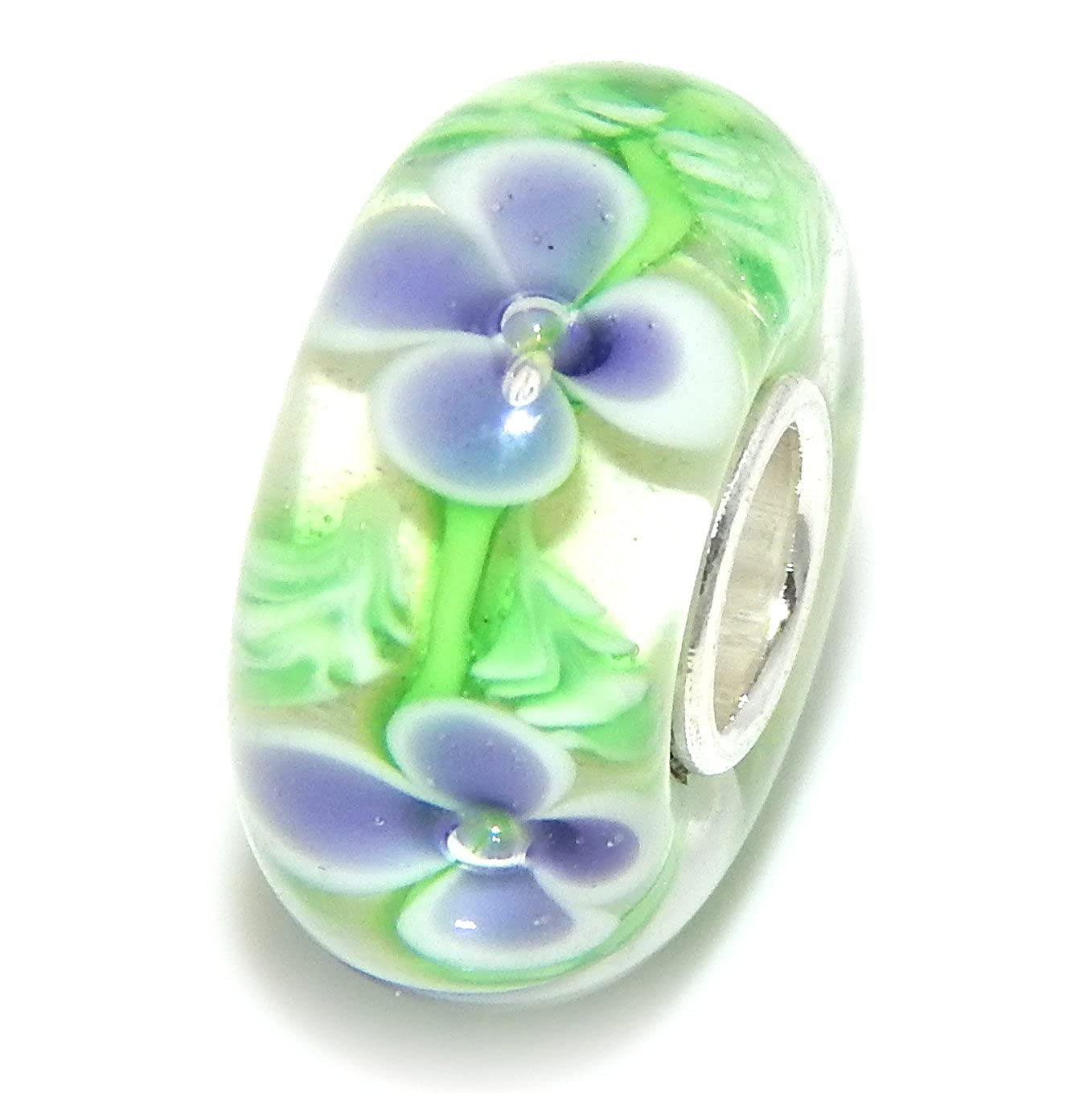 ICYROSE Solid 925 Sterling Silver Clear with Purple Flowers Glass Charm Bead