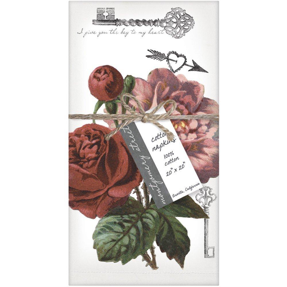 Montgomery Street Rosesコットンナプキン、4のセット   B01I4ATGKC