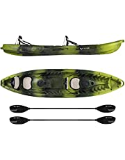 Vibe Kayaks Skipjack 120T 12 Foot Tandem Angler and Recreational Two Person Sit On Top Fishing Kayak with 2 Paddles and 2 Seats + Flush Rod Holders