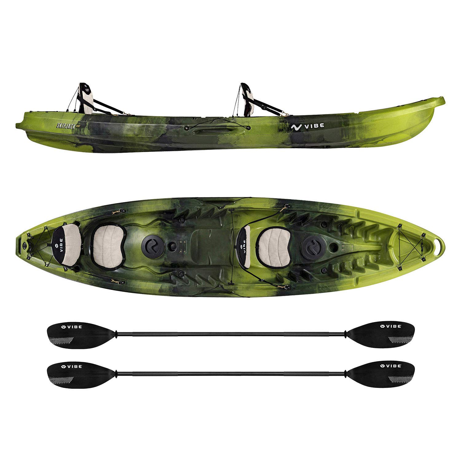 Vibe Kayaks Skipjack 120T 12 Foot Tandem Angler and Recreational Two Person Sit On Top Fishing Kayak with 2 Paddles and 2 Seats Flush Rod Holders