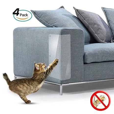 Galaxer 4 Piezas de ProteccióN Anti-Arañazos Transparente Gato Flexible Resistente a Los Arañazos para Gatos con Alfileres Que Protegen Los Muebles ...