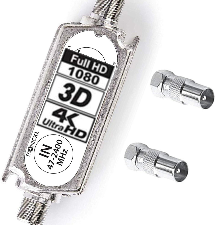 DVBT Antenne 20dB DVBS2 DVB-S2 Satelliten-Leitungsverst/ärker Inline Breitband SAT Verst/ärker TV PreAmp Inlineverst/ärker TronicXL Signalverst/ärker LNB Sat Sch/üssel