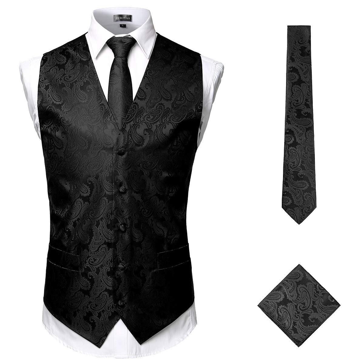 ZEROYAA Men's 3pc Paisley Jacquard Vest Set Necktie Pocket Square Set for Suit or Tuxedo ZLSV14 Black Medium by ZEROYAA