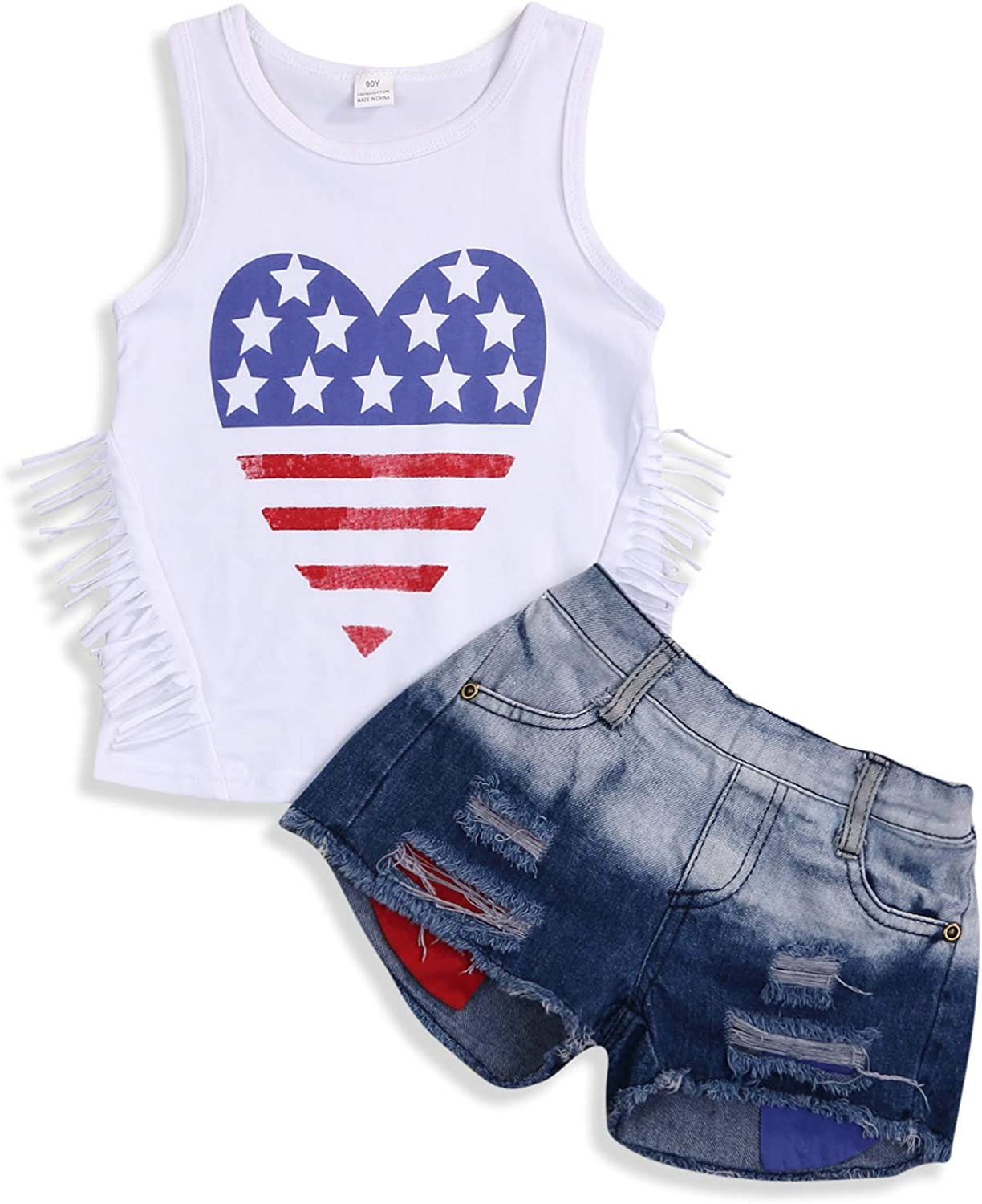 Infant Baby Girls Boys Outfit Red White and Blue Print Vest Top American Flag Shorts Clothes Set