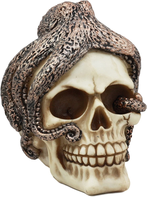 "Ebros Sea Monster Kraken Octopus Skull Statue 6"" Tall Nautical Ocean Terror Myth Decorative Figurine"