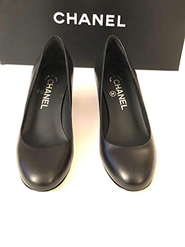 CHANEL-Black Leather Pumps with Square Heel SIZE-37 (37, Black)