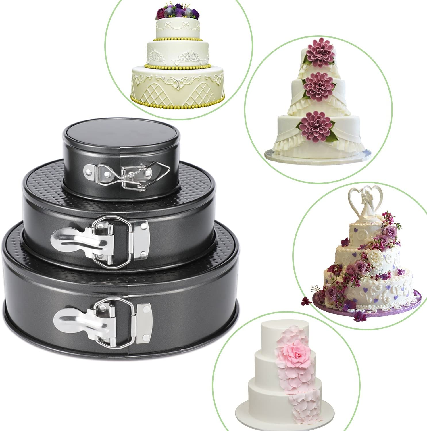 """Hiware Springform Pan for Baking Set of 3 Non-stick Cheesecake Pan, Leakproof Round Cake Pan Set Includes 3 Pieces 4"""" 7"""" 9"""" Springform Pan, Icing Spatula and Icing Smoother: Kitchen & Dining"""