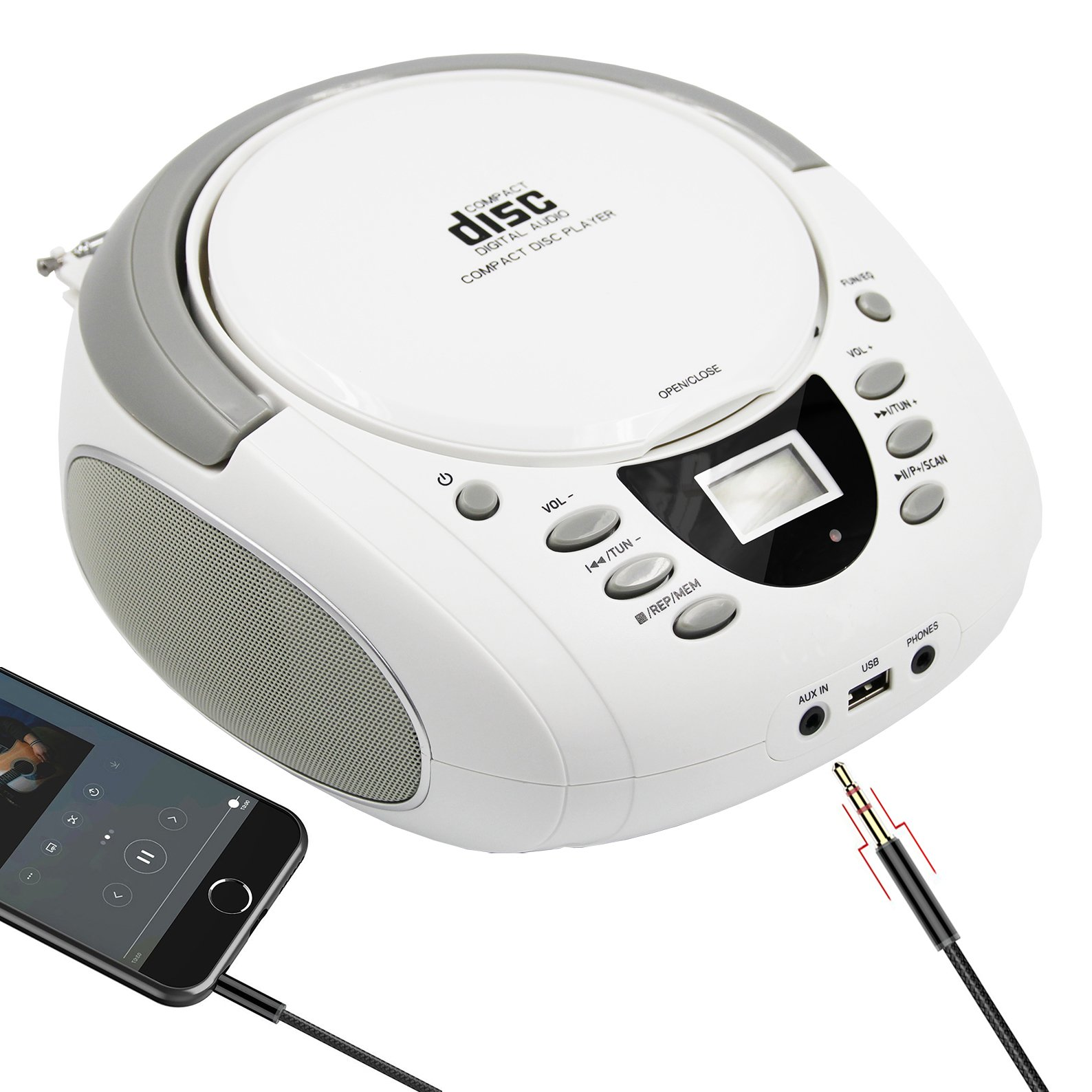 LONPOO Stereo Portable CD Player Boombox with Bluetooth AM/FM Radio and Aux Line-in, LED Display and USB/Headphone Jack (White)