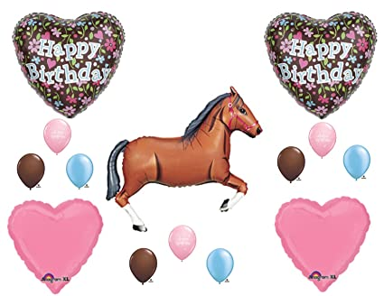 Brown Horse Floral Cowgirl BIRTHDAY PARTY Balloons Decorations Supplies